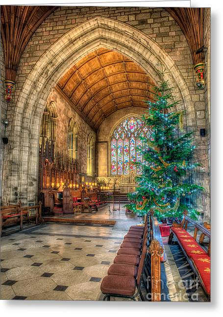 Ceiling Greeting Cards - Christmas Tree Greeting Card by Adrian Evans