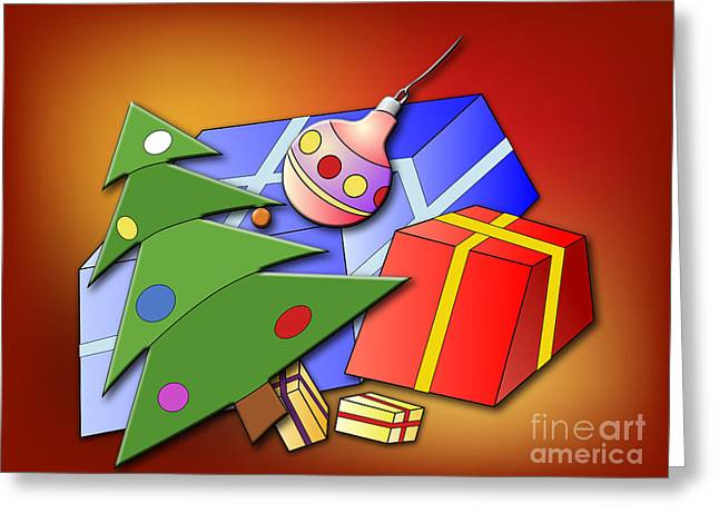 Hand Drawn Greeting Cards - Christmas tree and Christmas presents Greeting Card by Michal Boubin