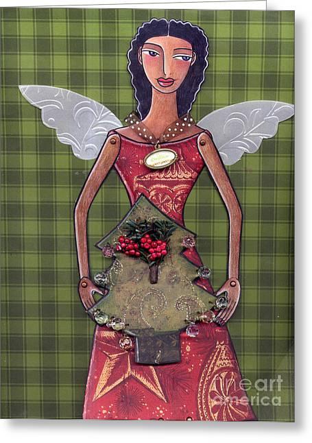 Christmas Tree Angel Greeting Card by Elaine Jackson