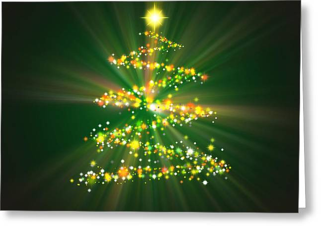 Christmas Tree Greeting Card by Atiketta Sangasaeng