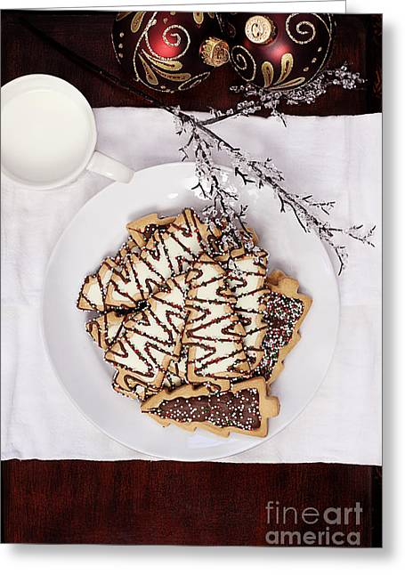 Frosting Greeting Cards - Christmas Tree Cookies an Milk Greeting Card by Stephanie Frey