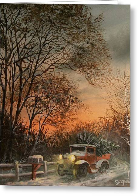 Old Trucks Greeting Cards - Christmas Tree Delivery Greeting Card by Tom Shropshire