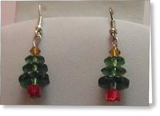 Amber Jewelry Greeting Cards - Christmas Tree Earrings Greeting Card by Kimberly Johnson