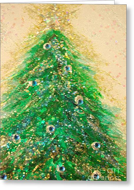 First Star Art Mixed Media Greeting Cards - Christmas Tree Gold by jrr Greeting Card by First Star Art