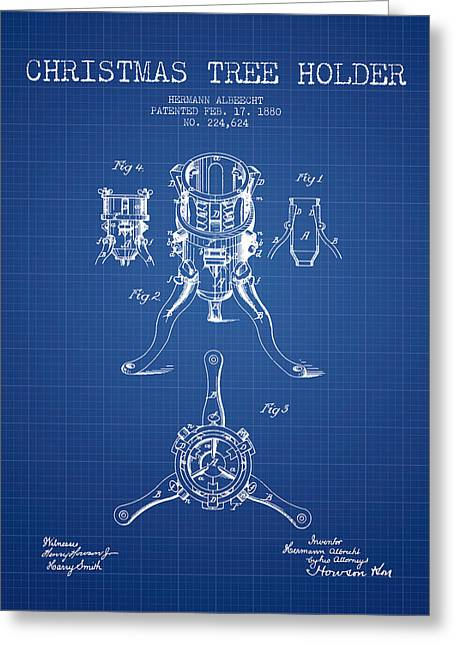Christmas Art Greeting Cards - Christmas Tree Holder Patent from 1880 - Blueprint Greeting Card by Aged Pixel