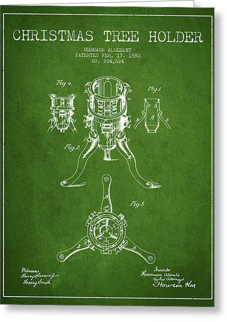 Christmas Art Greeting Cards - Christmas Tree Holder Patent from 1880 - Green Greeting Card by Aged Pixel