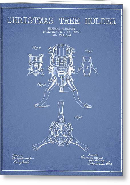 Christmas Art Greeting Cards - Christmas Tree Holder Patent from 1880 - Light Blue Greeting Card by Aged Pixel