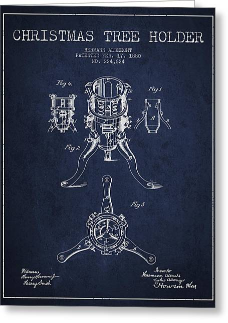 Christmas Art Greeting Cards - Christmas Tree Holder Patent from 1880 - navy Blue Greeting Card by Aged Pixel