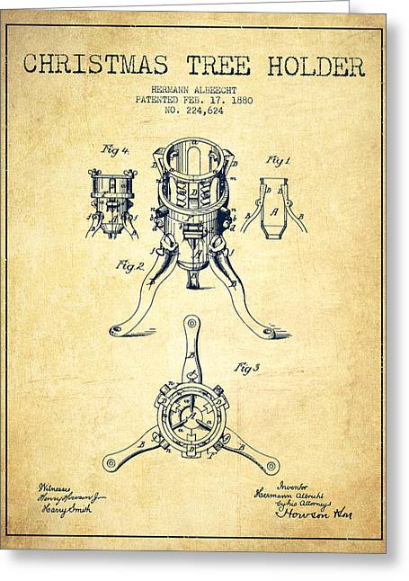 Christmas Art Greeting Cards - Christmas Tree Holder Patent from 1880 - Vintage Greeting Card by Aged Pixel