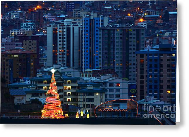 Christmas Season Blocks Greeting Cards - Christmas Tree in La Paz Greeting Card by James Brunker