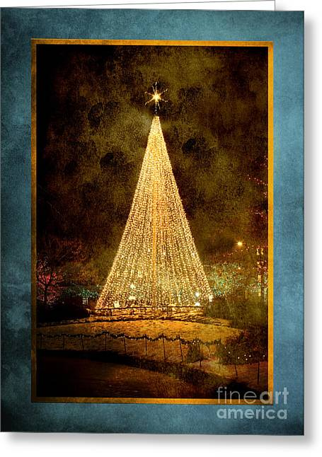 Vertical Greeting Cards - Christmas Tree in the City Greeting Card by Cindy Singleton