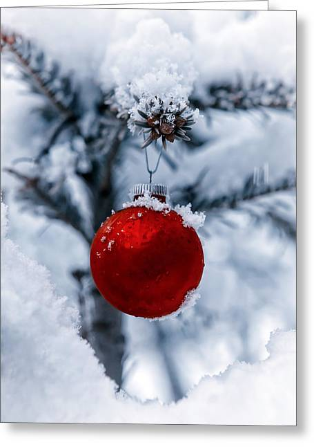 Baubles Greeting Cards - Christmas Tree Greeting Card by Joana Kruse
