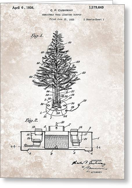 Outfit Greeting Cards - Christmas Tree Lighting Outfit Patent From 1926 Greeting Card by Celestial Images