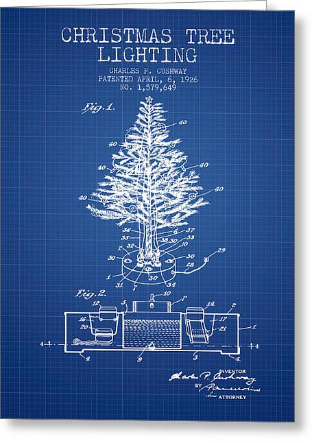 Christmas Art Greeting Cards - Christmas Tree Lighting Patent from 1926 - Blueprint Greeting Card by Aged Pixel