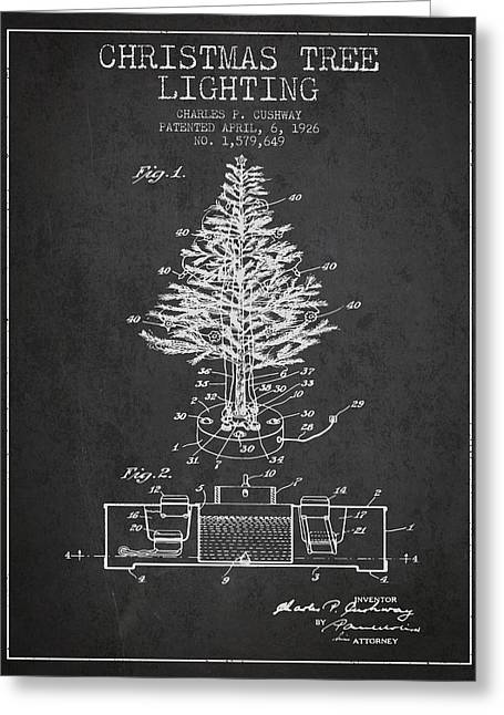 Christmas Art Greeting Cards - Christmas Tree Lighting Patent from 1926 - Dark Greeting Card by Aged Pixel