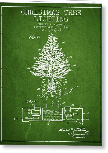 Christmas Art Greeting Cards - Christmas Tree Lighting Patent from 1926 - Green Greeting Card by Aged Pixel