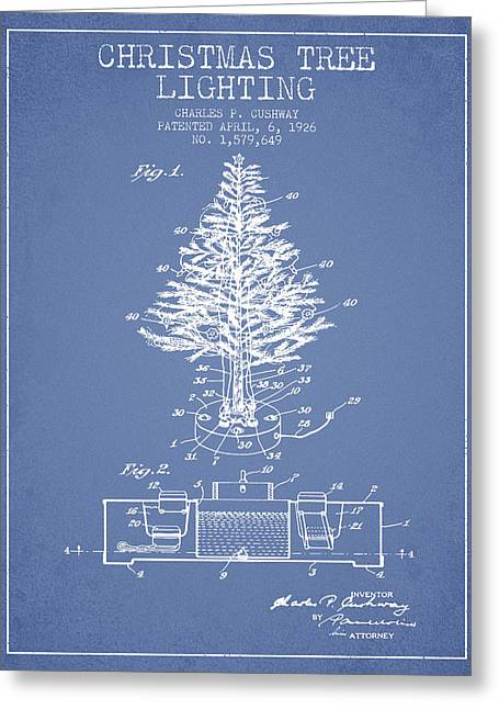 Christmas Art Greeting Cards - Christmas Tree Lighting Patent from 1926 - Light Blue Greeting Card by Aged Pixel
