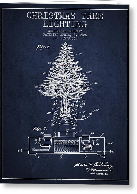 Christmas Ornament Greeting Cards - Christmas Tree Lighting Patent from 1926 - Navy Blue Greeting Card by Aged Pixel