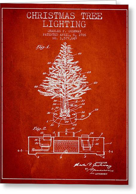 Christmas Art Greeting Cards - Christmas Tree Lighting Patent from 1926 - Red Greeting Card by Aged Pixel