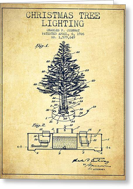 Christmas Ornament Greeting Cards - Christmas Tree Lighting Patent from 1926 - Vintage Greeting Card by Aged Pixel