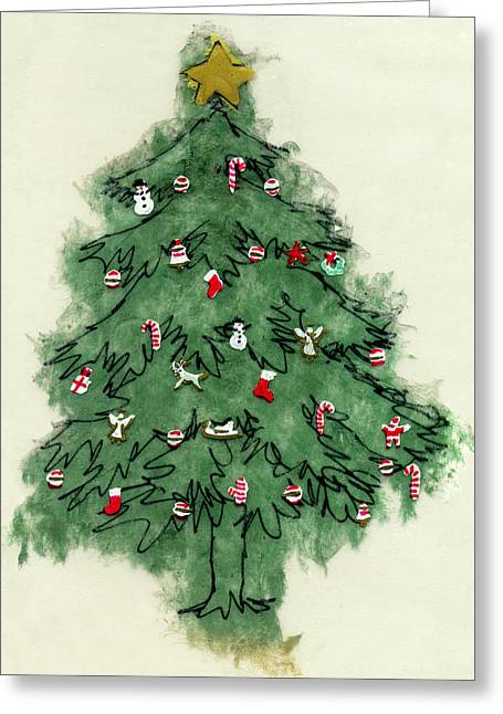 December Mixed Media Greeting Cards - Christmas Tree Greeting Card by Mary Helmreich