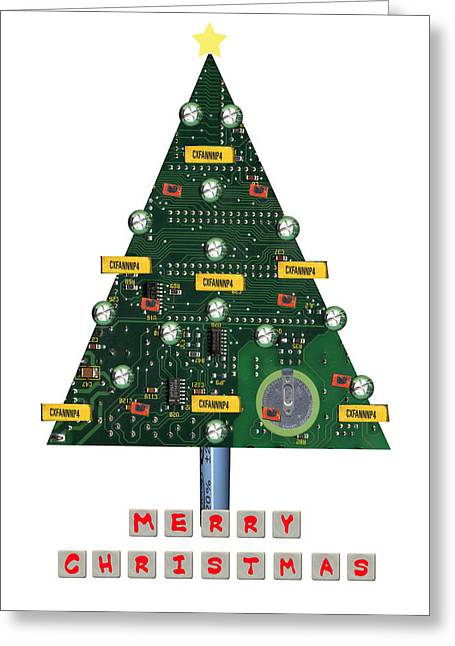 Board Mixed Media Greeting Cards - Christmas Tree Motherboard Greeting Card by Mary Helmreich