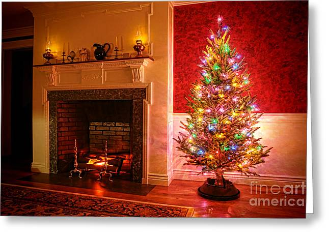 Christmas Tree Greeting Card by Olivier Le Queinec