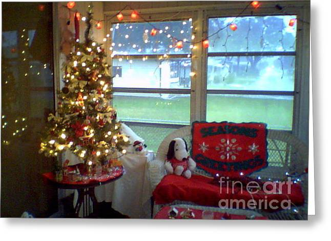 Sunporch Greeting Cards - Christmas Tree on Sunporch Greeting Card by Debbie Wassmann