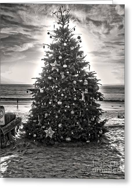Christmas Tree On The Beach Greeting Card by Gregory Dyer