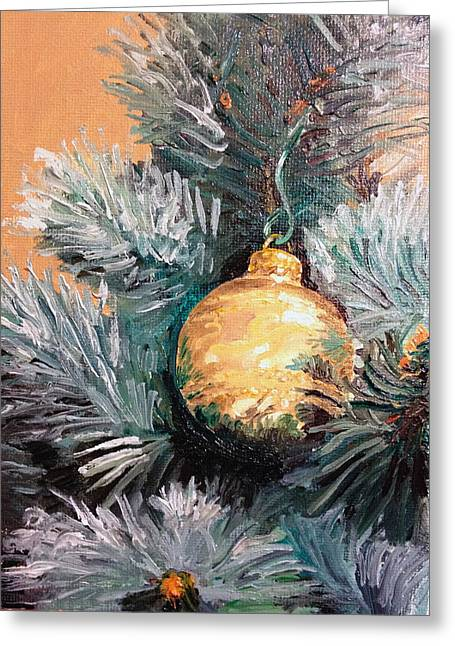 Pine Needles Paintings Greeting Cards - Christmas Tree Ornament Gold Greeting Card by Arch