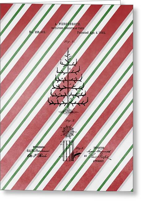 Collectible Mixed Media Greeting Cards - Christmas Tree Patent Candy Cane Greeting Card by Dan Sproul