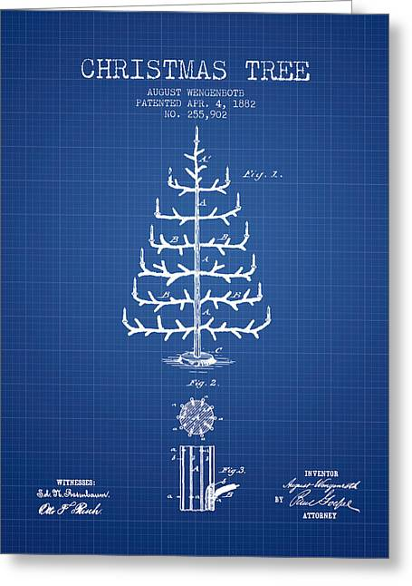 Christmas Ornament Greeting Cards - Christmas Tree Patent from 1882 - Blueprint Greeting Card by Aged Pixel