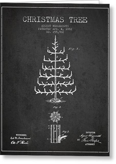 Christmas Art Greeting Cards - Christmas Tree Patent from 1882 - Charcoal Greeting Card by Aged Pixel
