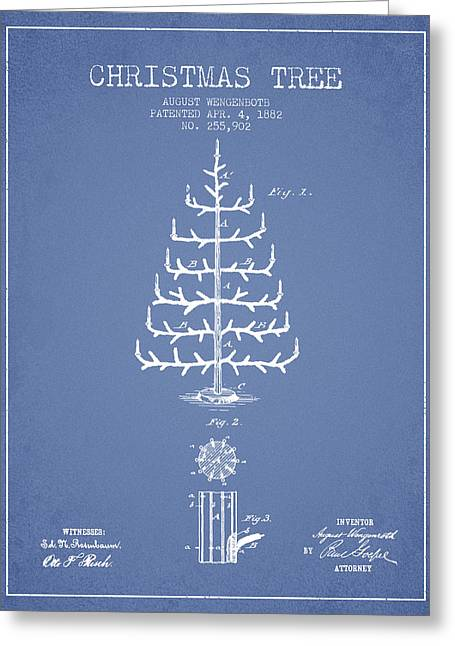 Christmas Art Greeting Cards - Christmas Tree Patent from 1882 - Light Blue Greeting Card by Aged Pixel