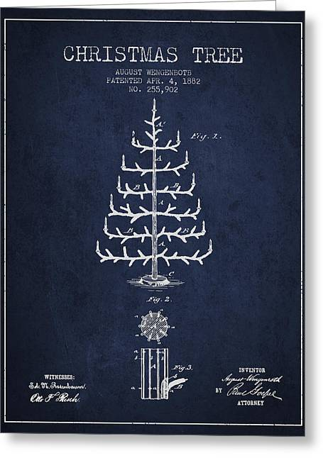 Christmas Ornament Greeting Cards - Christmas Tree Patent from 1882 - Navy Blue Greeting Card by Aged Pixel