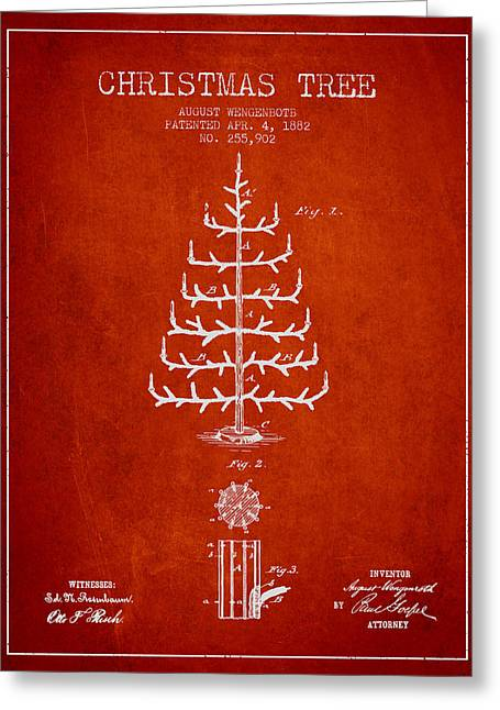 Christmas Art Greeting Cards - Christmas Tree Patent from 1882 - Red Greeting Card by Aged Pixel