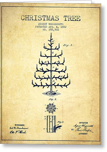 Christmas Art Greeting Cards - Christmas Tree Patent from 1882 - Vintage Greeting Card by Aged Pixel