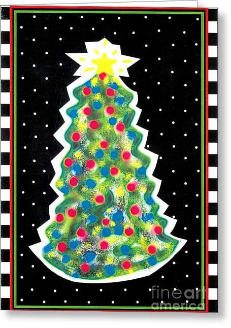 Polkadots Greeting Cards - Christmas Tree Polkadots Greeting Card by Genevieve Esson
