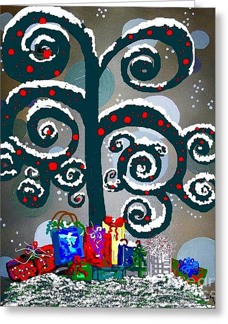 Christmas Tree Swirls And Curls Greeting Card by Eloise Schneider