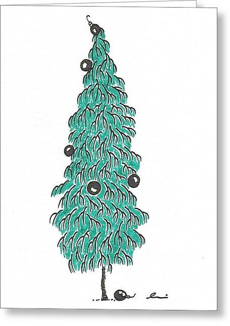 Bare Trees Drawings Greeting Cards - Christmas Tree 2 Greeting Card by Andrea Currie
