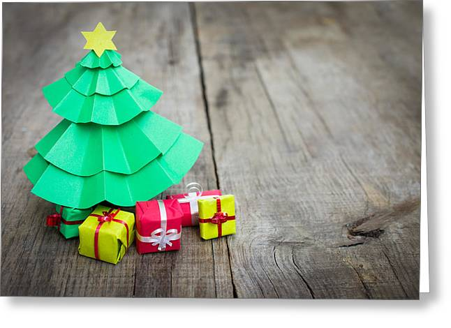 Vintage Toys Greeting Cards - Christmas Tree With Presents Greeting Card by Aged Pixel