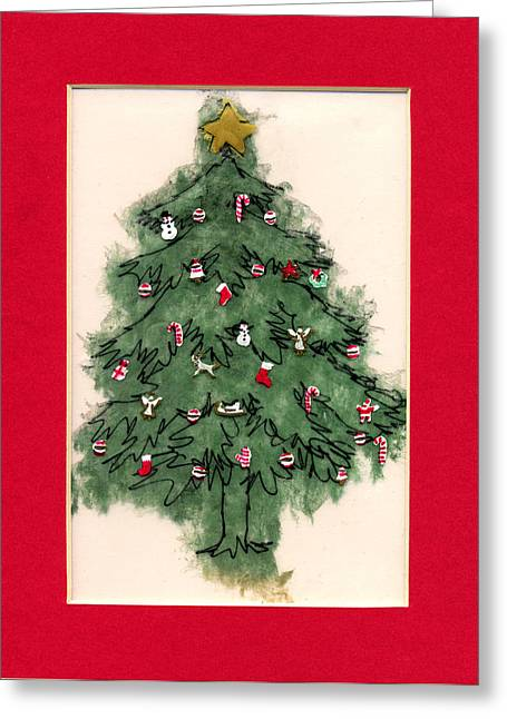 December Mixed Media Greeting Cards - Christmas Tree with Red Mat Greeting Card by Mary Helmreich
