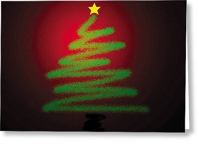 Christmas Greeting Greeting Cards - Christmas Tree With Star Greeting Card by Genevieve Esson