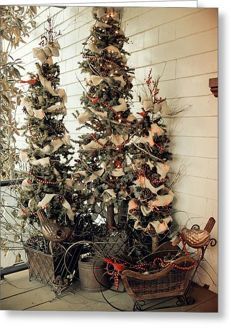 Christmas Eve Greeting Cards - Christmas Trees of the Past Greeting Card by Laurie Perry