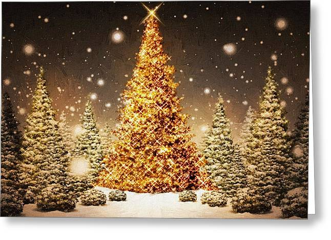New Year Greeting Cards - Christmas Trees Greeting Card by Victor Gladkiy