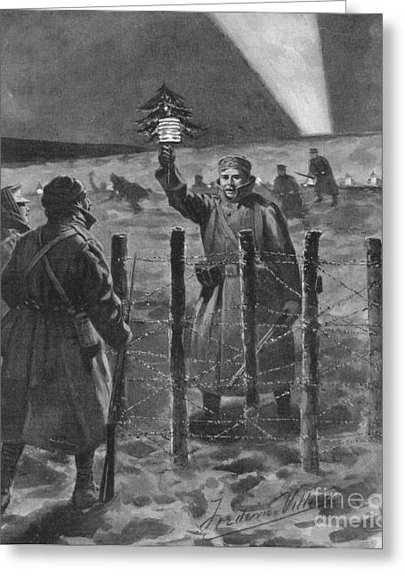 Trench Warfare Greeting Cards - Christmas Truce In 1914, World War I Greeting Card by British Library
