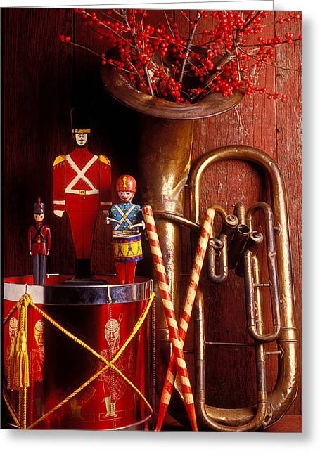 Drummers Photographs Greeting Cards - Christmas Tuba Greeting Card by Garry Gay