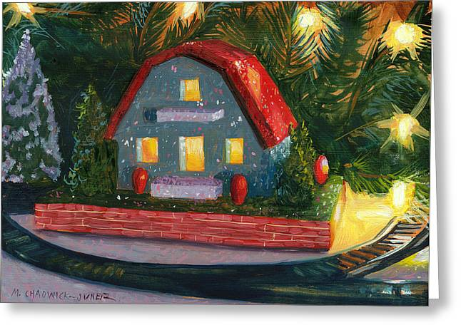 Christmas Village Greeting Cards - Christmas Village House I Greeting Card by Marguerite Chadwick-Juner