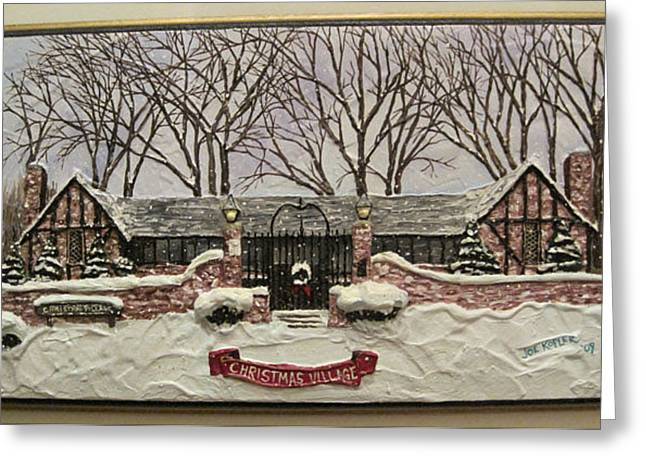 Warner Park Greeting Cards - Christmas Village Greeting Card by Joe Kopler