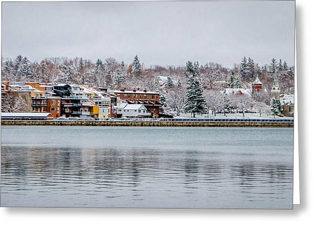 Skaneateles Greeting Cards - Christmas Village Greeting Card by Robert Green